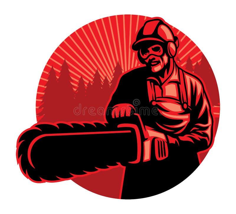 Arbetare som använder chainsawen vektor illustrationer
