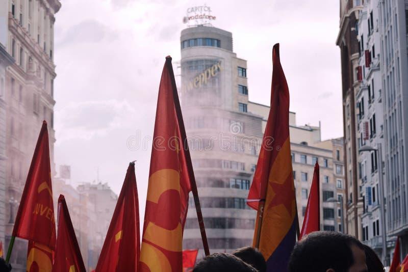 Arbetare som protesterar i Madrid royaltyfria bilder