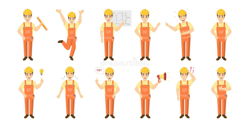 Arbetaremojiuppsättning vektor illustrationer