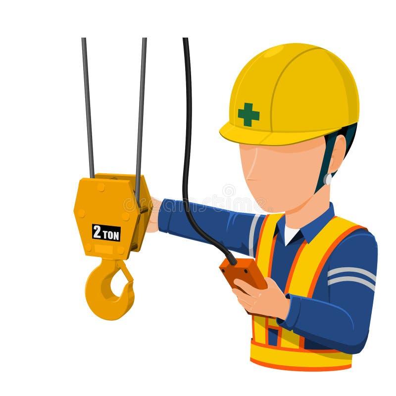 Arbetaren använder fabrikskranen royaltyfri illustrationer