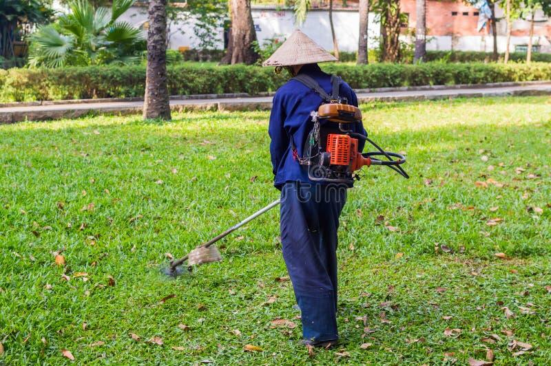 Arbetaren av en trädgård klipper av ett gräs royaltyfria foton