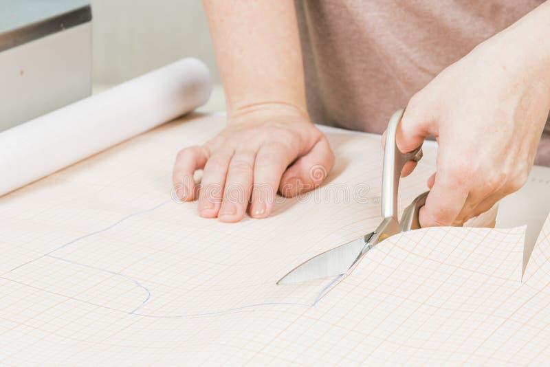 arbetaren av sömnadproduktion använder sax för att klippa av tyg royaltyfri bild