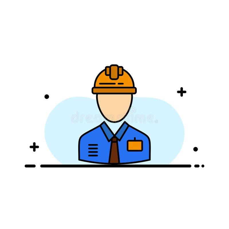 Arbetaren bransch, konstruktion, konstruktör, arbetar, den plana linjen fylld mall för den arbets- affären för symbolsvektorbaner vektor illustrationer