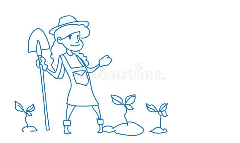 Arbetaren för skörden för spaden för kvinnabondehållen skissar den växande kvinnliga åkerbruka klottrar horisontalfull längd vektor illustrationer