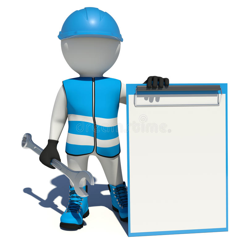 Arbetaren i blåa overaller som rymmer skiftnyckeln och, tömmer stock illustrationer
