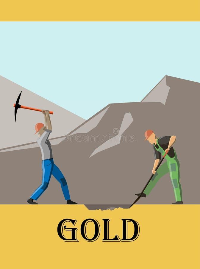 Arbetaren med hackan och arbetaren med skyffeln gräver en jordning på bergbakgrunden stock illustrationer