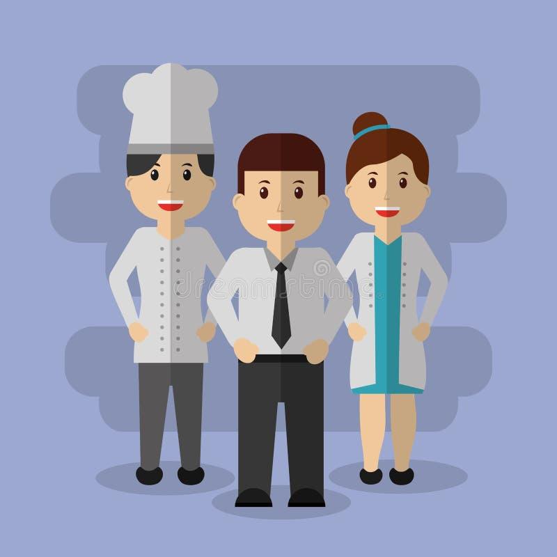 Arbetarkockaffärsman och femlaedoktor tillsammans vektor illustrationer