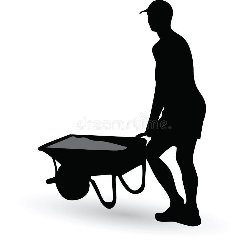 Arbetarkonturn bär en skottkärra vektor illustrationer