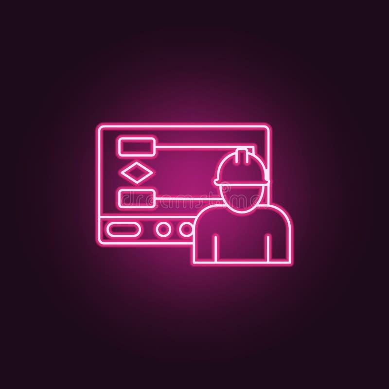 Arbetarsymbol Beståndsdelar av tillverkning i neonstilsymboler Enkel symbol för websites, rengöringsdukdesign, mobil app, informa vektor illustrationer