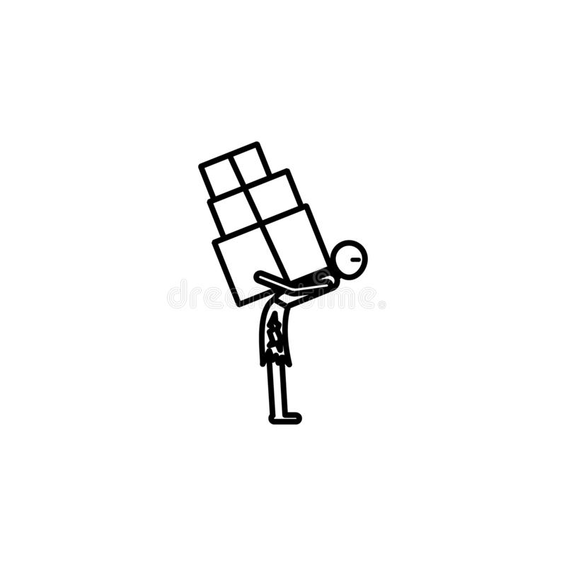 Arbetarsymbol för fattig man Beståndsdel av symbolen för socialt liv för armod för mobila begrepps- och rengöringsdukapps Den tun stock illustrationer