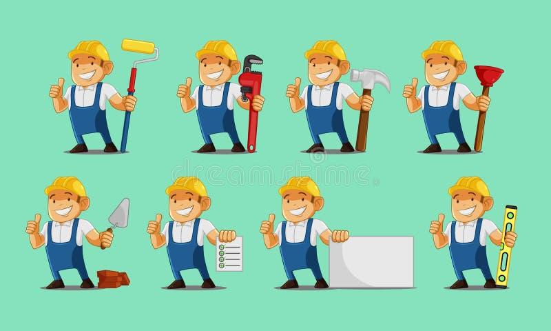Arbetaruppsättning stock illustrationer