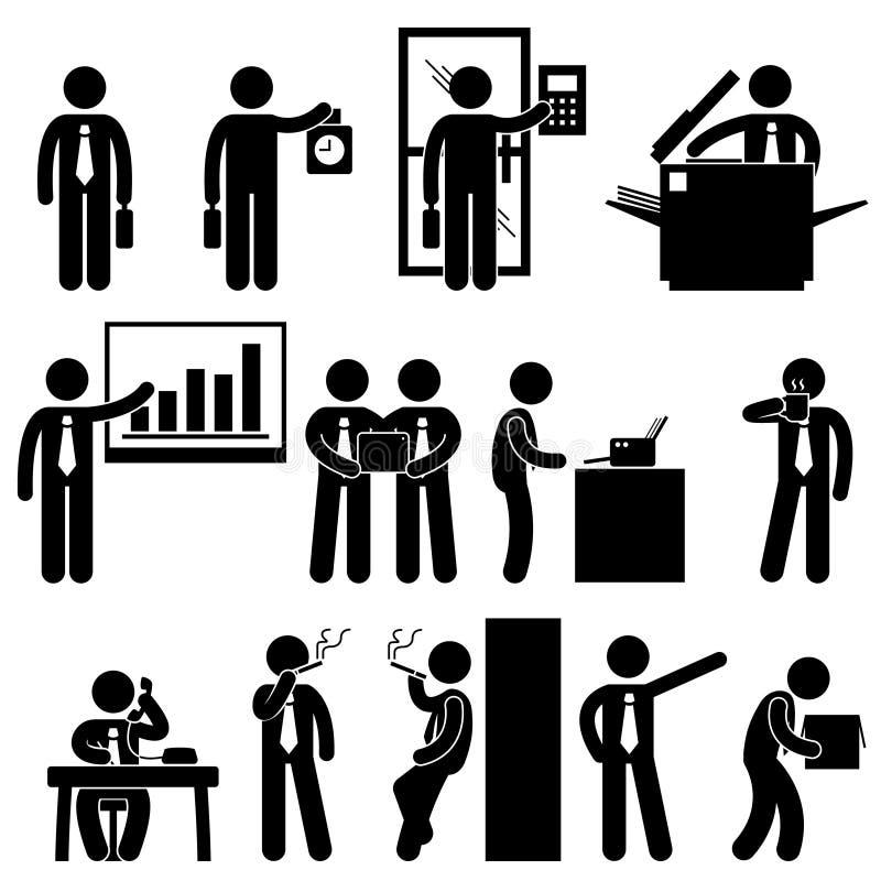 Arbete för affärsaffärsmananställd vektor illustrationer
