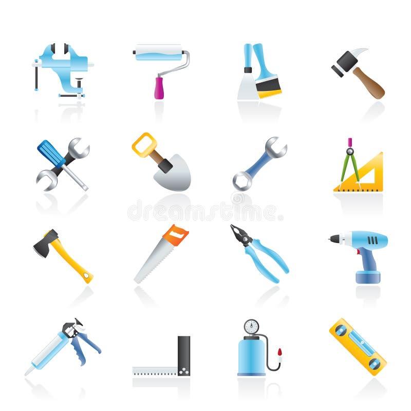arbete för hjälpmedel för symboler för byggnadskonstruktion royaltyfri illustrationer