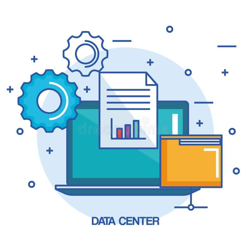 Arbete för information om dokument för mapp för datorhallbärbar datordator royaltyfri illustrationer