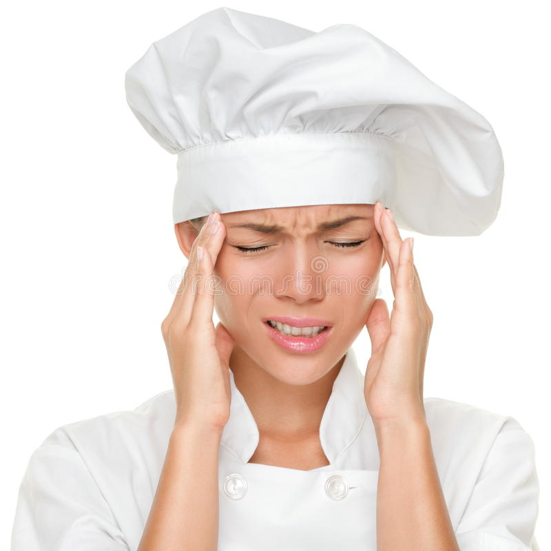 arbete för kockhuvudvärkspänning royaltyfria foton