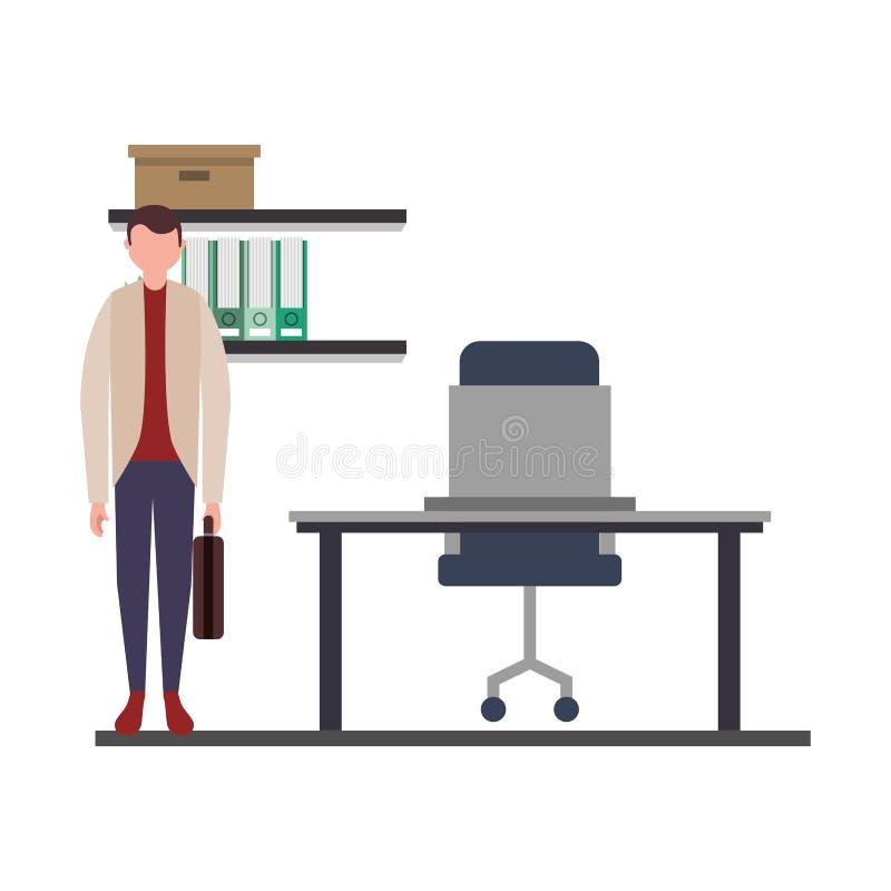 Arbete för kontor för affärsmananseendearbetsplats stock illustrationer
