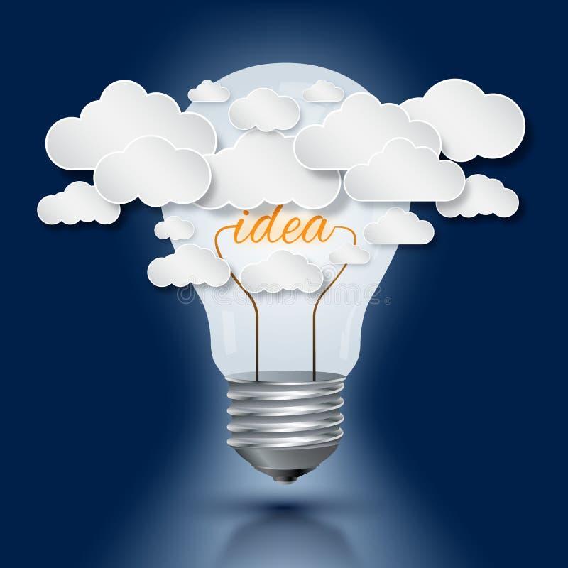Arbete för ljus kula och molnför idé royaltyfri illustrationer