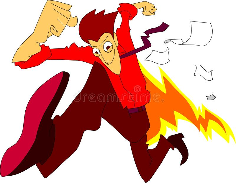 Arbete för man för mycket snabb exponering körande spännande med brand- och andeaffär vektor illustrationer