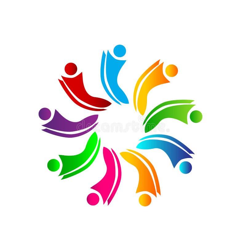 Arbete för symbol för cirkel för folk för fackligt färgrikt folk för folklagarbete tillsammans sunt tillsammans logo för nio pers royaltyfri illustrationer