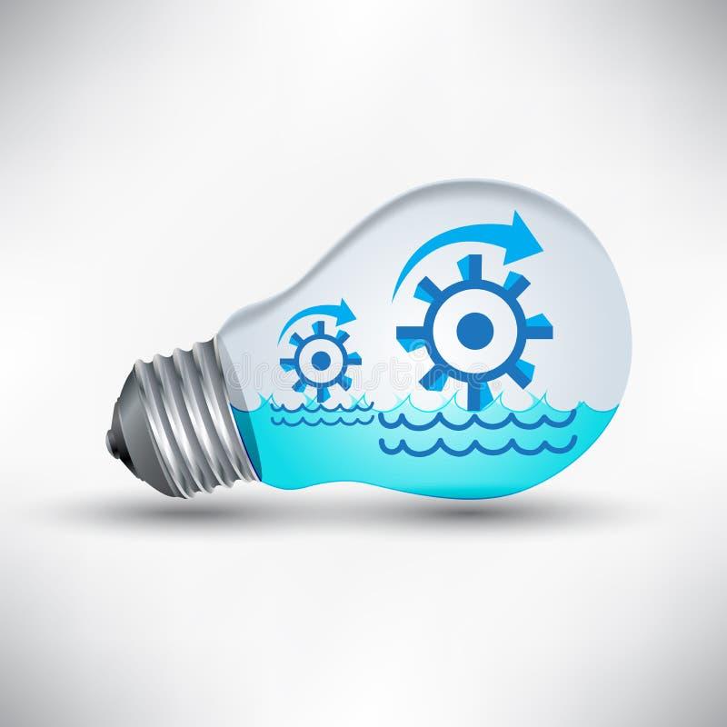 Arbete för vattenturbinmekanism för idén, förnybara energikällor vektor illustrationer
