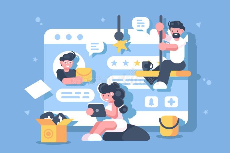 Arbete i plan affisch för digitalt utrymme stock illustrationer