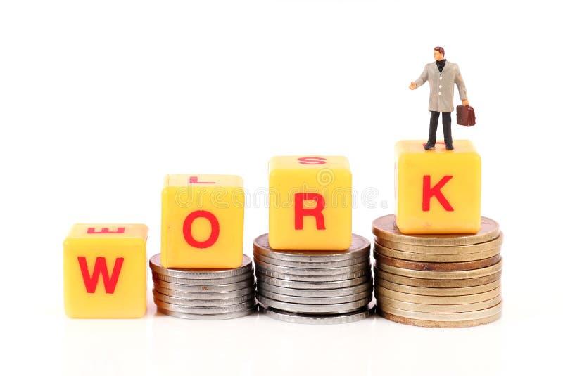 Arbete och pengar arkivbild