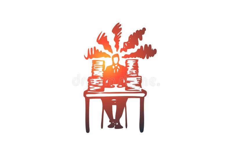 Arbete papper som är upptaget, spänning, jobbbegrepp Hand dragen isolerad vektor royaltyfri illustrationer