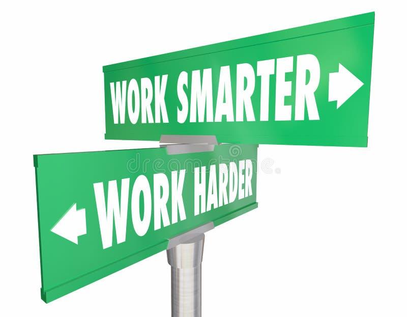 Arbete som är mer smart Vs mer hård två 2 tecken stock illustrationer