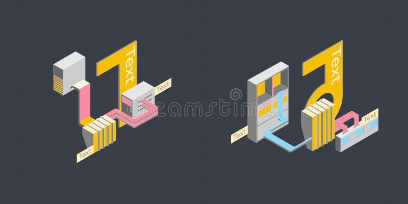 Arbeten för illustrationdiagramverksamhetssystem royaltyfri illustrationer