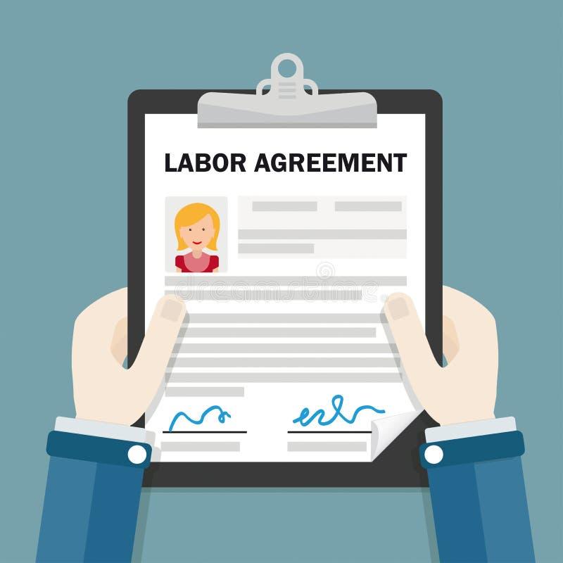 Arbets- överenskommelse för handskrivplattakvinna royaltyfri illustrationer