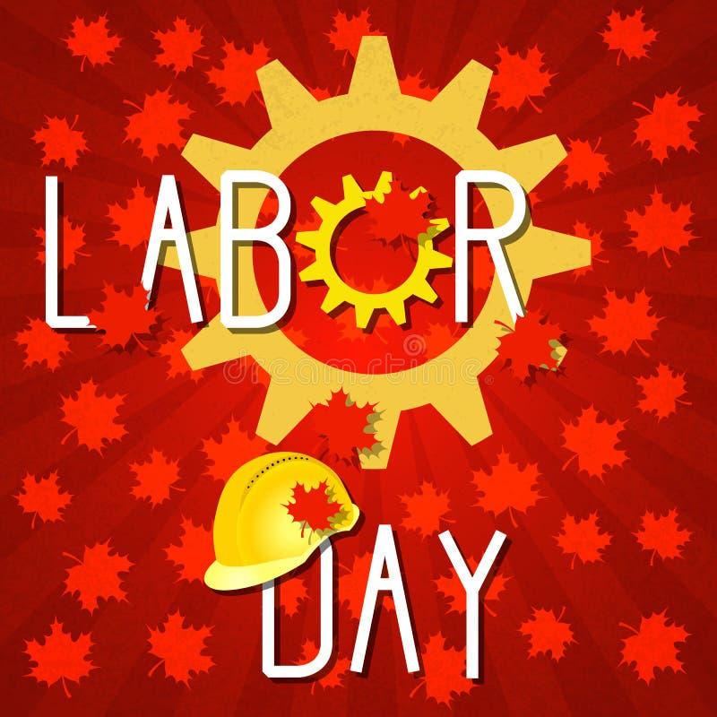 Arbets- dag i Kanada Kugghjul konstruktionshjälm Röd bakgrund med lönnlöv royaltyfri illustrationer