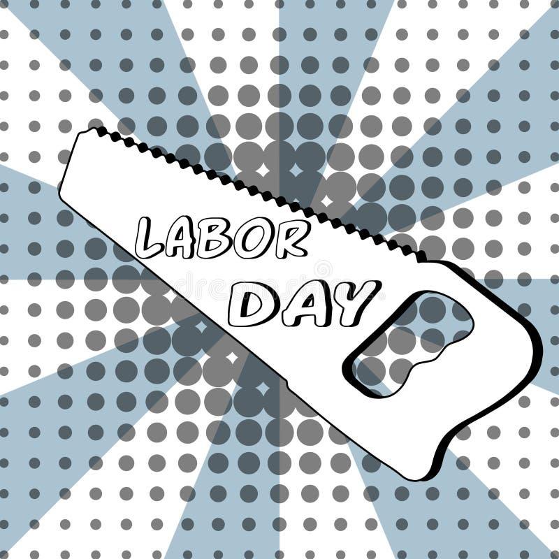 Arbets- dag på en sågöversikt - komisk text, stil för popkonst Fri typografibokstäver med bristning på prickig halvton stock illustrationer