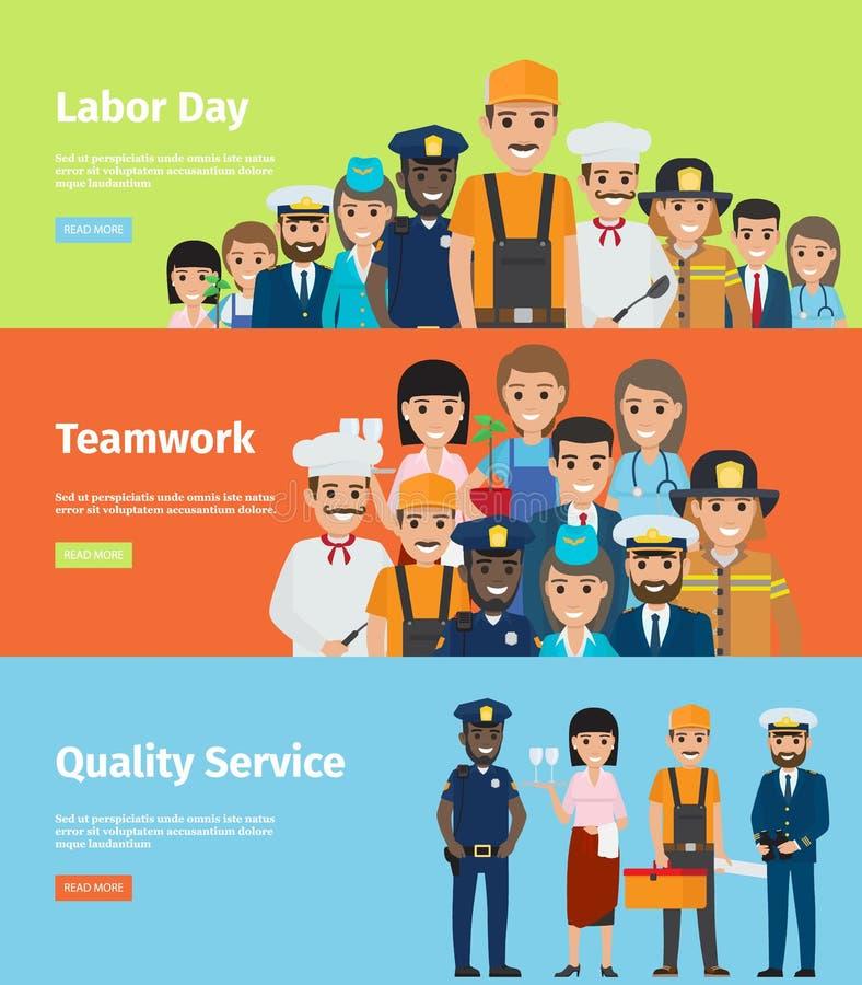 Arbets- dag, teamwork och kvalitets- sida för tjänste- information royaltyfri illustrationer