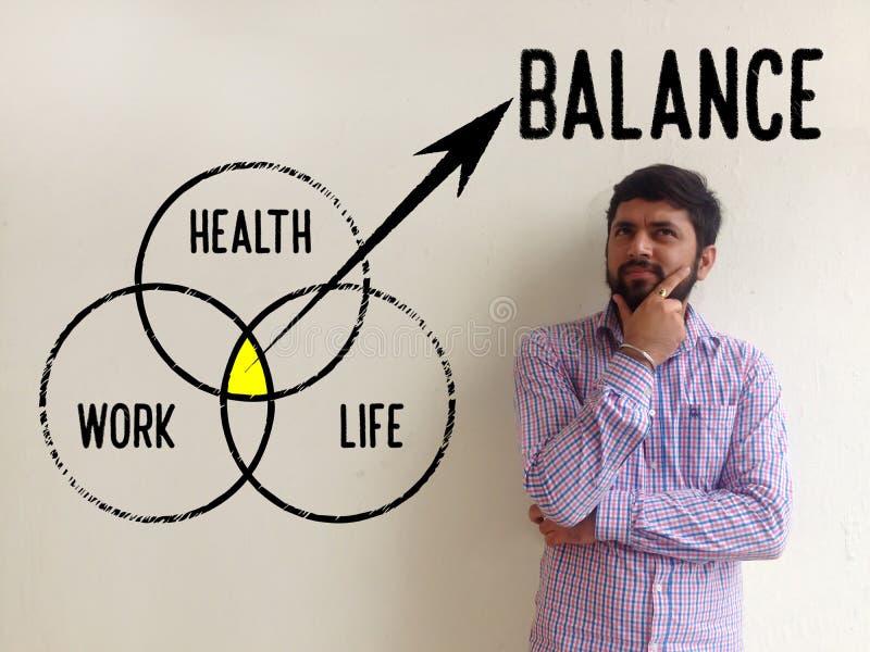 Arbets-, hälso- och livjämviktsbegrepp arkivbild