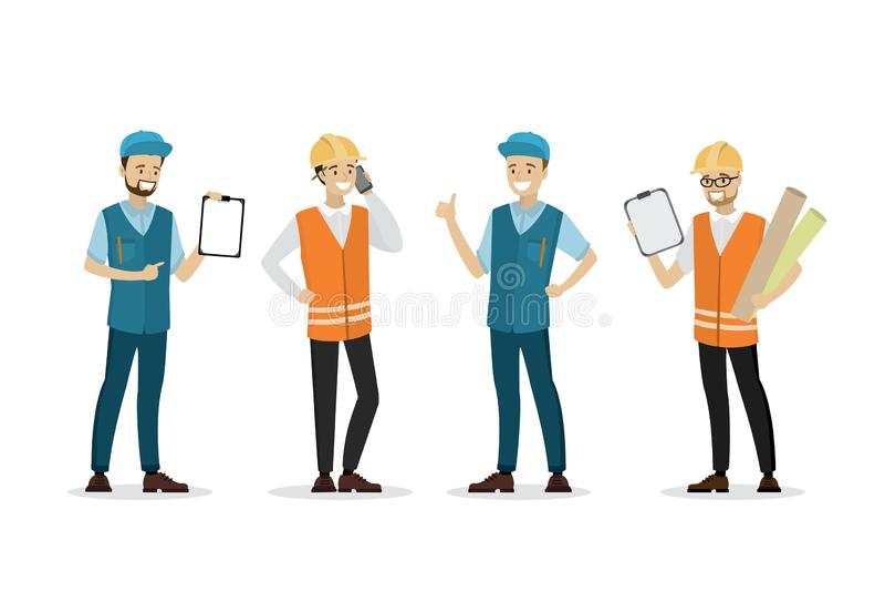 Arbets- manlig folksamling som isoleras på vit bakgrund stock illustrationer