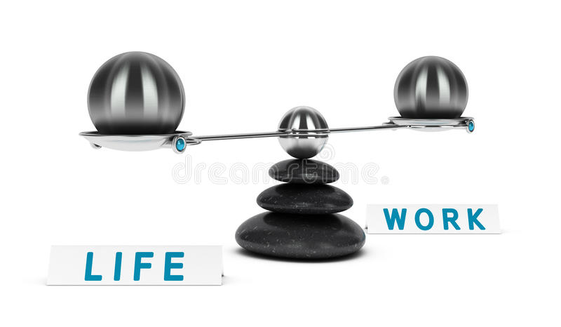 Arbets- och livjämviktsdelning stock illustrationer