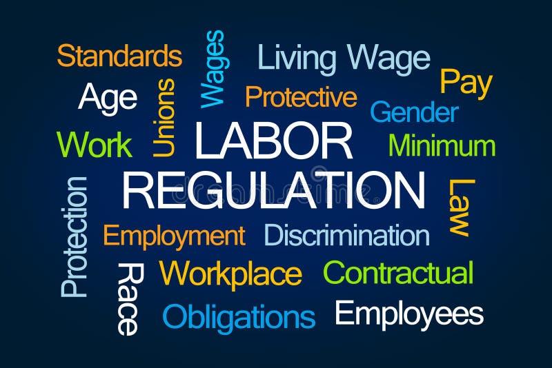 Arbets- regleringsordmoln arkivfoto