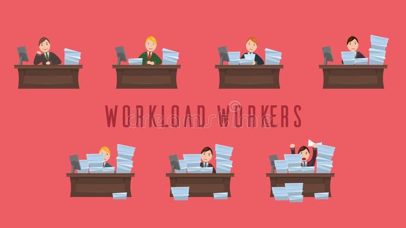 Arbetsbördaarbetare stock illustrationer