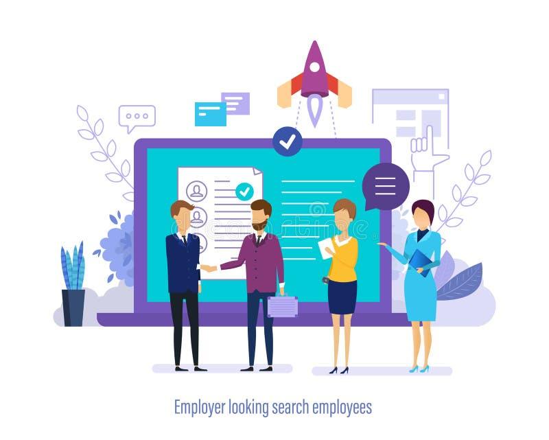 Arbetsgivare som ser sökandeanställda Sökandepersonal, val, studiemeritförteckning, teamwork royaltyfri illustrationer