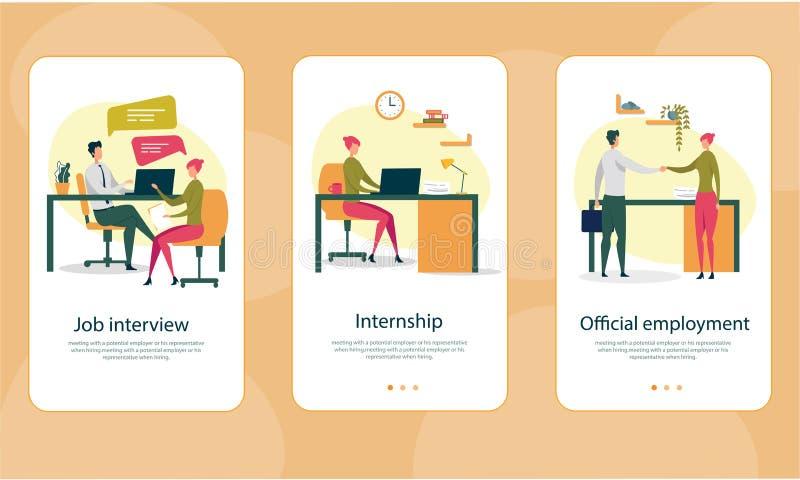 Arbetsintervju, praktik, officiell anställning vektor illustrationer