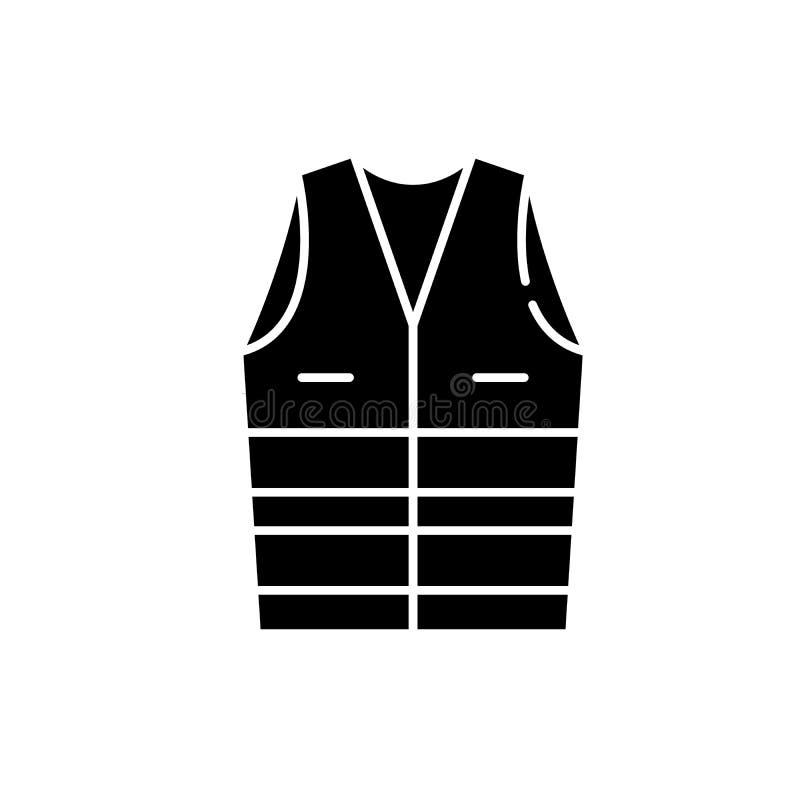 Arbetskläder svart symbol, vektortecken på isolerad bakgrund Symbol för begrepp för arbetskläder, illustration royaltyfri illustrationer