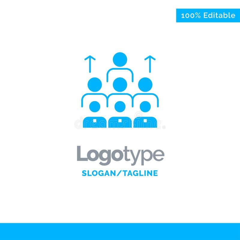 Arbetskraft affär, människa, ledarskap, ledning, organisation, resurser, teamwork blåa fasta Logo Template St?lle f?r Tagline stock illustrationer