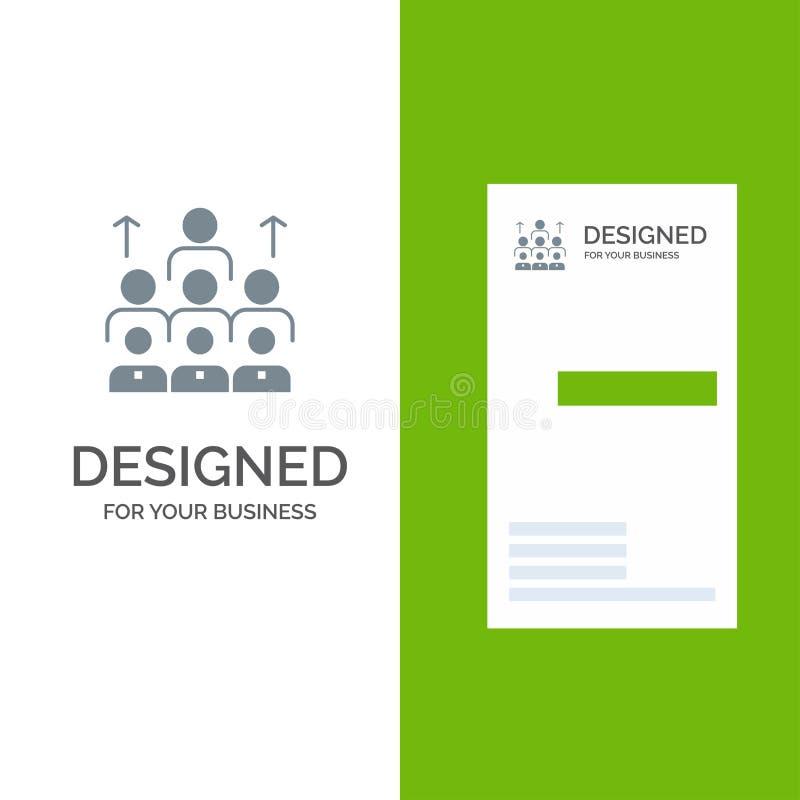 Arbetskraft, affär, människa, ledarskap, ledning, organisation, resurser, teamwork Grey Logo Design och mall för affärskort vektor illustrationer