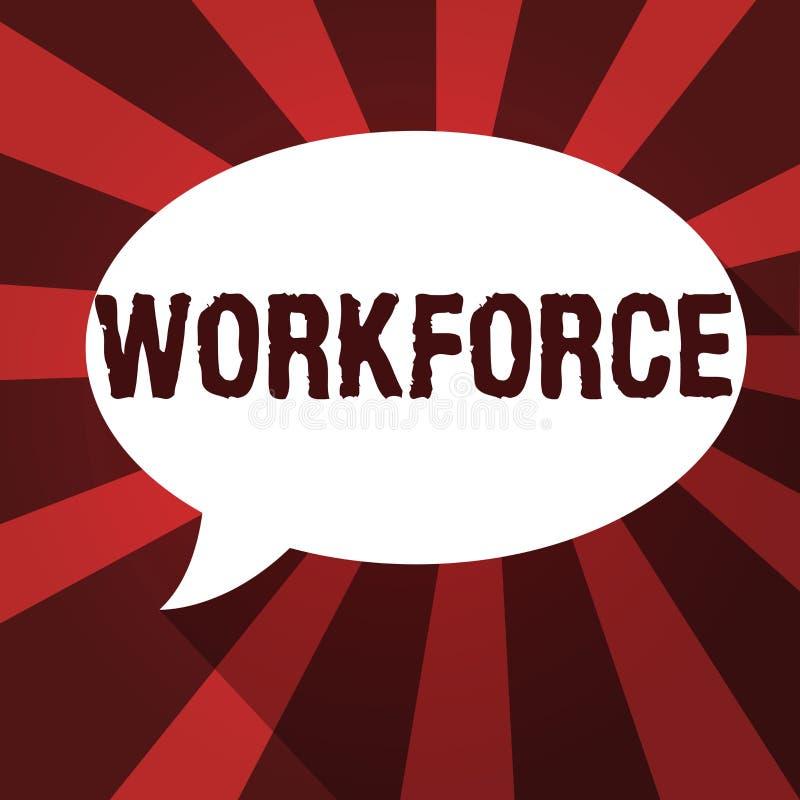 Arbetskraft för ordhandstiltext Affärsidé för grupp av visning som arbetar i en företagsanställdHuanalysis resurser royaltyfri illustrationer