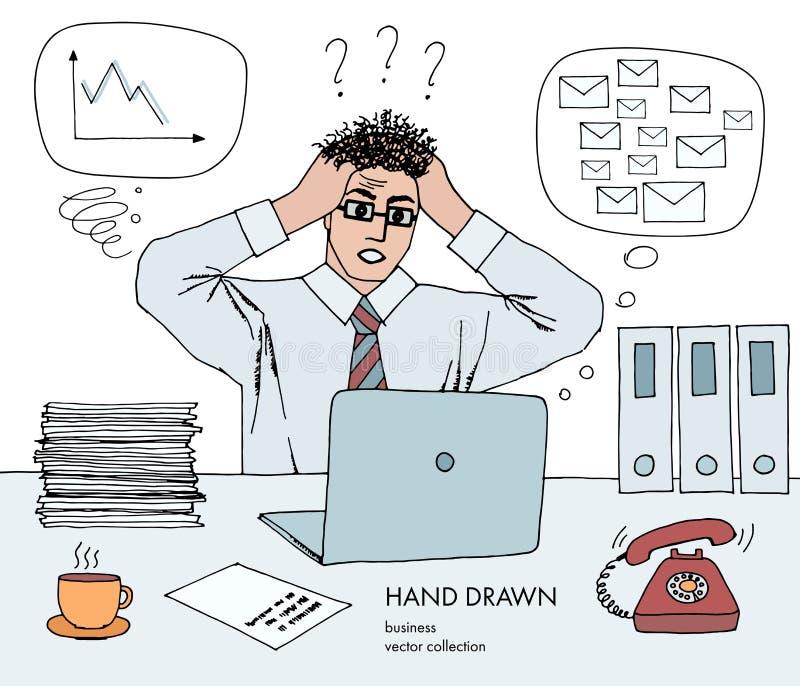 Arbetskris Affärsmannen rymmer hans huvud som ser bildskärmen hårställning på slut Mycket inboxposter, dåligt schema stock illustrationer
