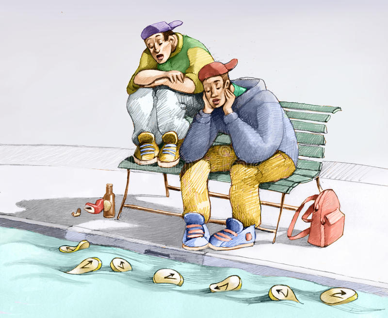 arbetslöshet stock illustrationer