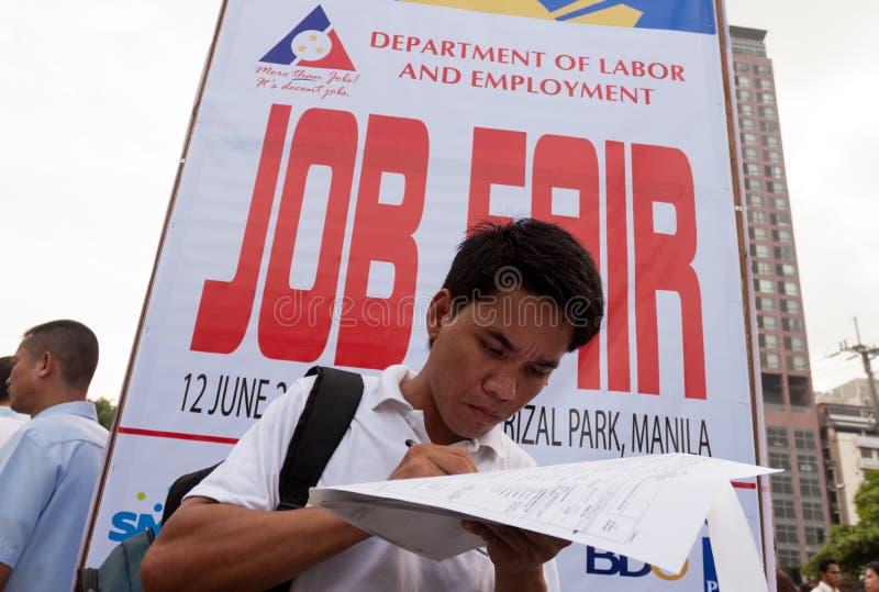 Arbetslöshetfråga i Manila, Filippinerna arkivbild