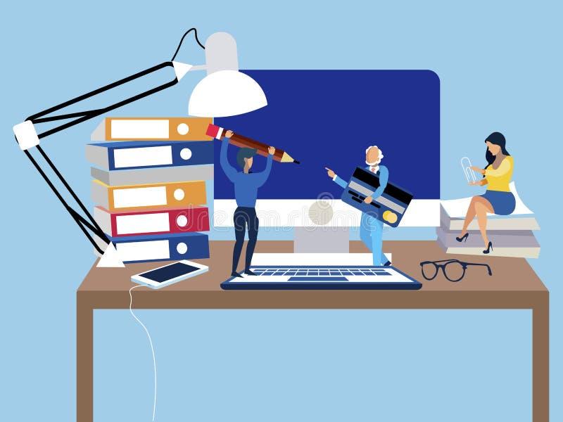 Arbetsmiljön på tabellen, kontorspersonalen är liten i storlek I minimalist stil Plan vektor f?r tecknad film royaltyfri illustrationer