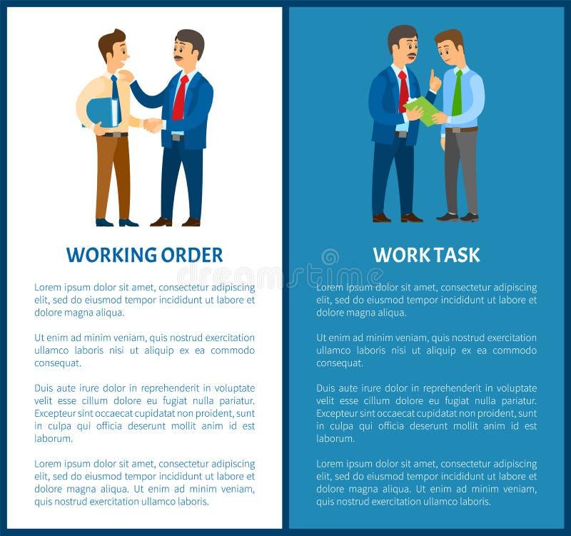 Arbetsorder- och arbetsuppgift, arbetsuppgifter för kontorsarbetare vektor illustrationer