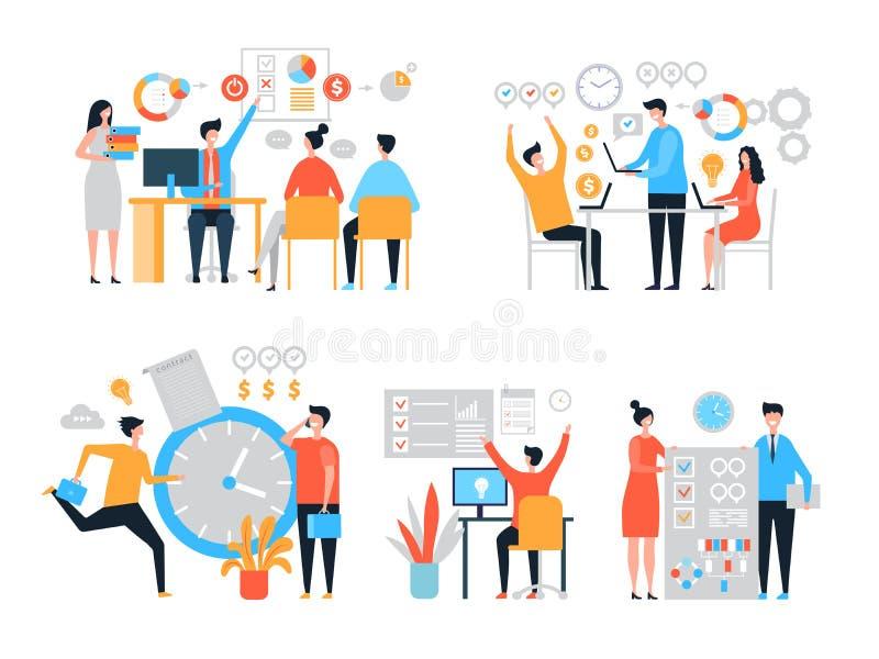 Arbetsorganisation Produktivitet för folk för uppgiftsledning att organisera processeffektivitetsvektorn stiliserade tecken stock illustrationer